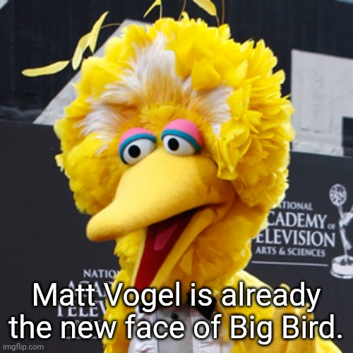 A new puppeteer for Big Bird. |  Matt Vogel is already the new face of Big Bird. | image tagged in memes,big bird | made w/ Imgflip meme maker