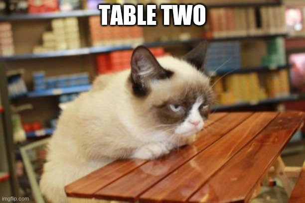 table two |  TABLE TWO | image tagged in memes,grumpy cat table,grumpy cat | made w/ Imgflip meme maker