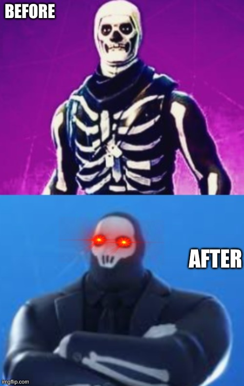 the incredible skull tropper | image tagged in before and after | made w/ Imgflip meme maker