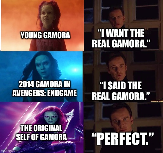 "The real Gamora in the Marvel Cinematic Universe |  YOUNG GAMORA; ""I WANT THE REAL GAMORA.""; 2014 GAMORA IN AVENGERS: ENDGAME; ""I SAID THE REAL GAMORA.""; THE ORIGINAL SELF OF GAMORA; ""PERFECT."" 