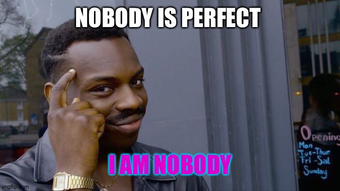 Roll Safe Think About It |  NOBODY IS PERFECT; I AM NOBODY | image tagged in memes,roll safe think about it | made w/ Imgflip meme maker