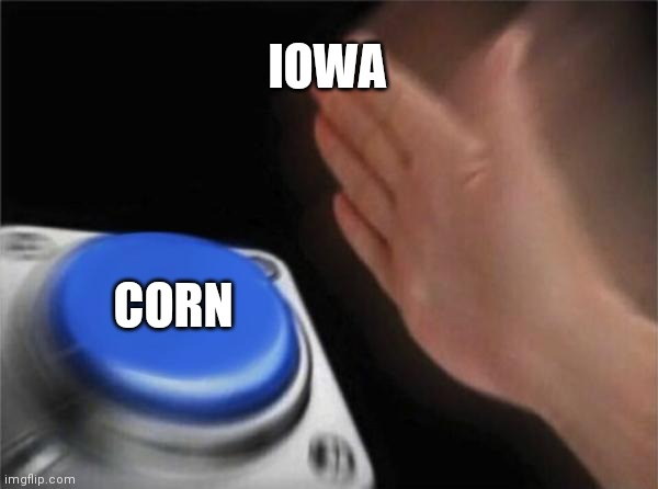 The us will now |  IOWA; CORN | image tagged in memes,blank nut button,corn,iowa,corn field's | made w/ Imgflip meme maker