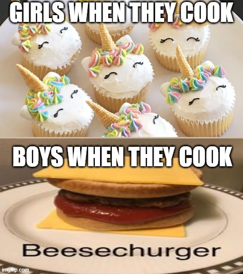 Cooking Stereotypes |  GIRLS WHEN THEY COOK; BOYS WHEN THEY COOK | image tagged in beesechurger,unicorn,cupcakes,boys,girls | made w/ Imgflip meme maker