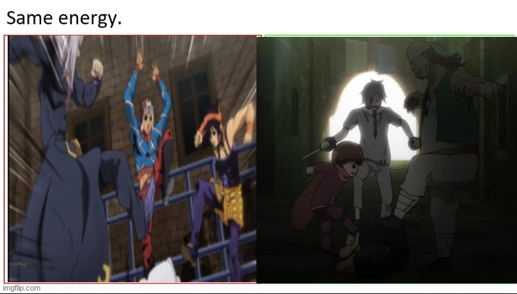One is more epic then the other | image tagged in jojo's bizarre adventure,anime,anime meme,re zero,same energy | made w/ Imgflip meme maker