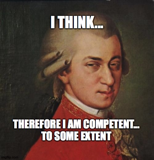 Mozart Not Sure |  I THINK... THEREFORE I AM COMPETENT... TO SOME EXTENT | image tagged in memes,mozart not sure | made w/ Imgflip meme maker