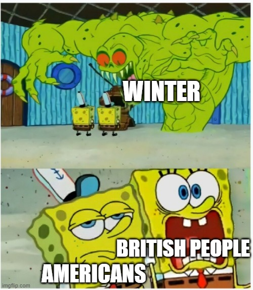 Honestly, We just hide the Toilet Paper. |  WINTER; BRITISH PEOPLE; AMERICANS | image tagged in spongebob squarepants scared but also not scared,americans,british,people,winter | made w/ Imgflip meme maker