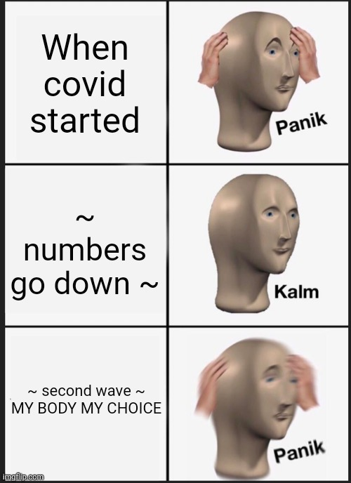 Heck nah |  When covid started; ~ numbers go down ~; ~ second wave ~  MY BODY MY CHOICE | image tagged in memes,panik kalm panik,oops | made w/ Imgflip meme maker