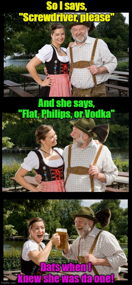 "A rare find, indeed! |  So I says, ""Screwdriver, please""; And she says, ""Flat, Philips, or Vodka""; Dats when I knew she was da one! 