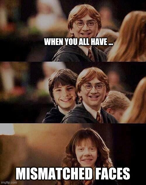 mismatched faces |  WHEN YOU ALL HAVE ... MISMATCHED FACES | image tagged in harry potter meme | made w/ Imgflip meme maker