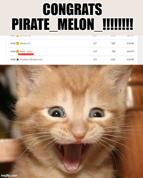 Congrats on making the top 250!!! |  CONGRATS PIRATE_MELON_!!!!!!!! | image tagged in memes,excited cat | made w/ Imgflip meme maker
