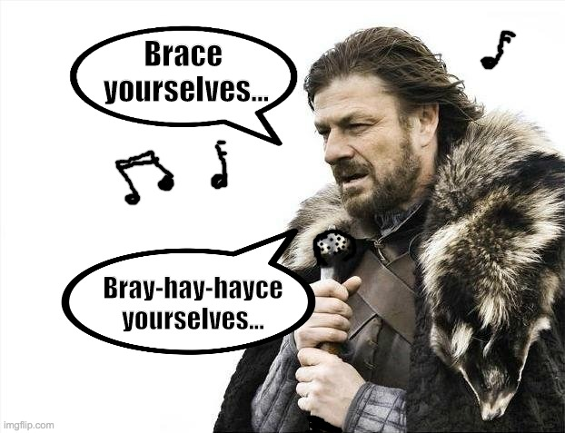 Brace Yourselves X is Coming |  Brace  yourselves... Bray-hay-hayce yourselves... | image tagged in memes,brace yourselves x is coming | made w/ Imgflip meme maker