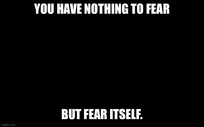 Nothing to fear but fear itself |  YOU HAVE NOTHING TO FEAR; BUT FEAR ITSELF. | image tagged in black color,fear,i fear no man,empowerment,brave | made w/ Imgflip meme maker