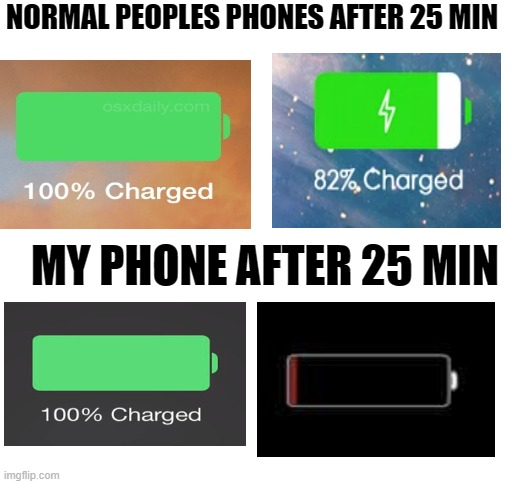 my phone after 25 min |  NORMAL PEOPLES PHONES AFTER 25 MIN; MY PHONE AFTER 25 MIN | image tagged in blank white template,lmao,funny,funny meme | made w/ Imgflip meme maker
