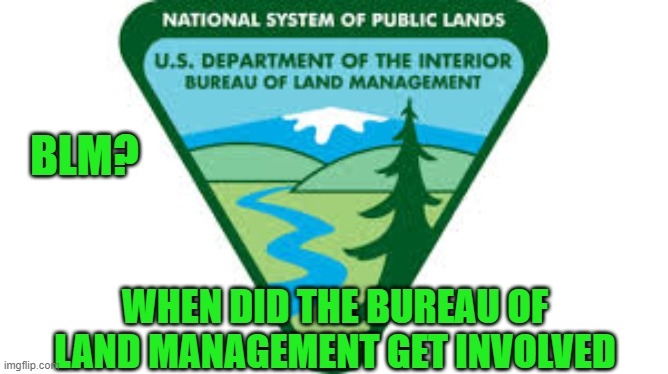 BLM |  BLM? WHEN DID THE BUREAU OF LAND MANAGEMENT GET INVOLVED | image tagged in government,memes,protesters,violence is never the answer,question,lockdown | made w/ Imgflip meme maker
