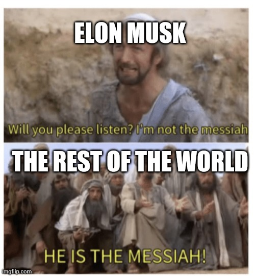 life |  ELON MUSK; THE REST OF THE WORLD | image tagged in he is the messiah,elon musk | made w/ Imgflip meme maker