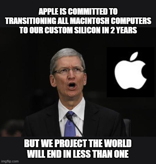 Exciting times to come. Maybe. |  APPLE IS COMMITTED TO TRANSITIONING ALL MACINTOSH COMPUTERS TO OUR CUSTOM SILICON IN 2 YEARS; BUT WE PROJECT THE WORLD WILL END IN LESS THAN ONE | image tagged in tim cook,memes,macintosh,end of the world,2022 | made w/ Imgflip meme maker