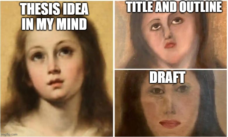 thesis idea |  TITLE AND OUTLINE; THESIS IDEA IN MY MIND; DRAFT | image tagged in writing,paint | made w/ Imgflip meme maker