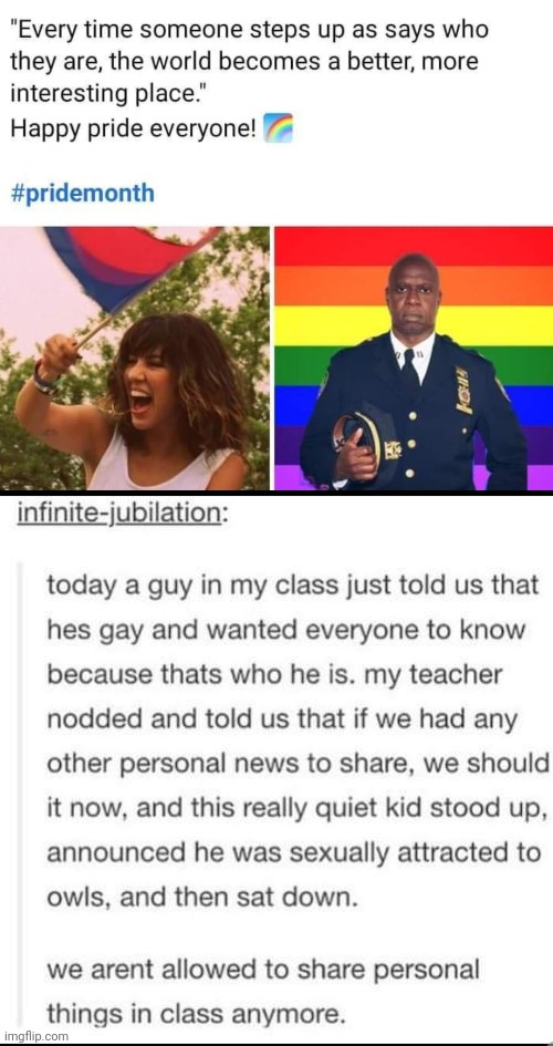 Sharing | image tagged in brooklyn nine nine,pride,owls,funny memes,weird | made w/ Imgflip meme maker