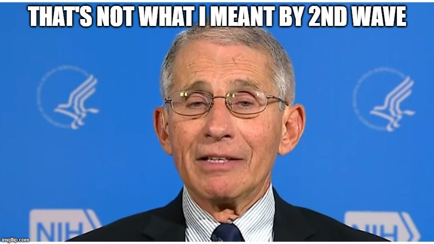 Dr Fauci | THAT'S NOT WHAT I MEANT BY 2ND WAVE | image tagged in dr fauci | made w/ Imgflip meme maker