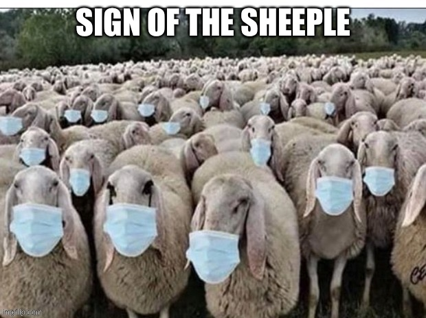 Sign of the Sheeple |  SIGN OF THE SHEEPLE | image tagged in masks,mask,face mask,sheep,sheeple | made w/ Imgflip meme maker