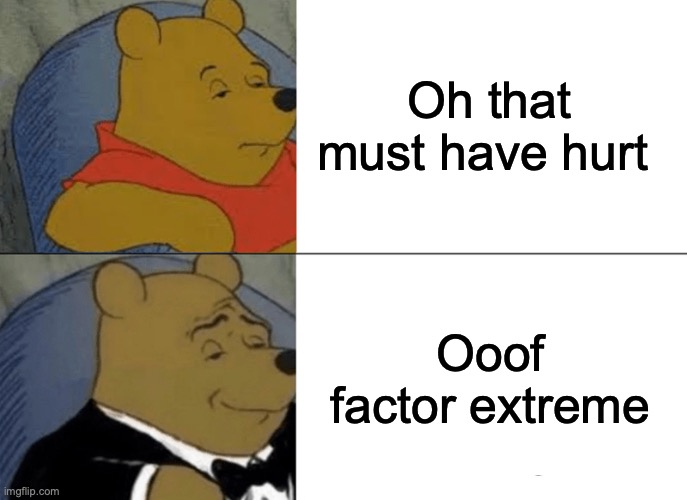 I said this to someone snd got a LOT of sideways glances |  Oh that must have hurt; Ooof factor extreme | image tagged in memes,tuxedo winnie the pooh | made w/ Imgflip meme maker