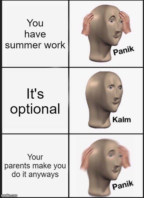 Summer work |  You have summer work; It's optional; Your parents make you do it anyways | image tagged in memes,panik kalm panik | made w/ Imgflip meme maker