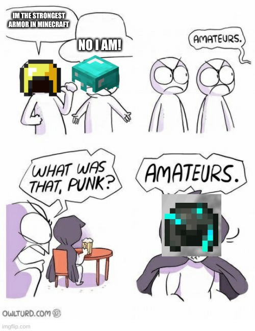 AMETURES |  IM THE STRONGEST ARMOR IN MINECRAFT; NO I AM! | image tagged in ametures | made w/ Imgflip meme maker