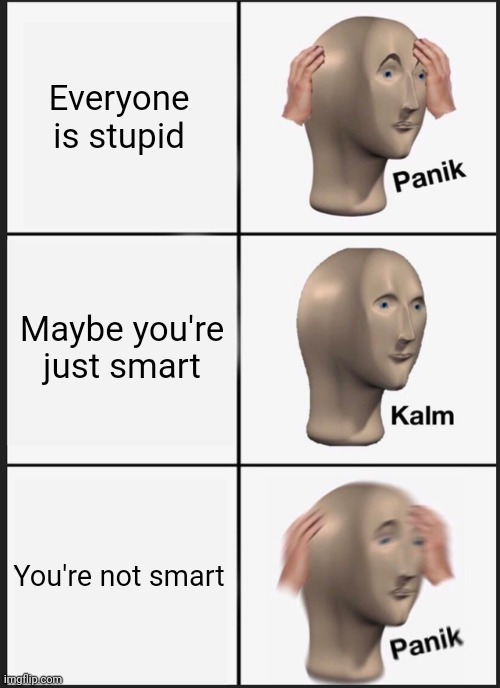Panik Kalm Panik Meme |  Everyone is stupid; Maybe you're just smart; You're not smart | image tagged in memes,panik kalm panik | made w/ Imgflip meme maker
