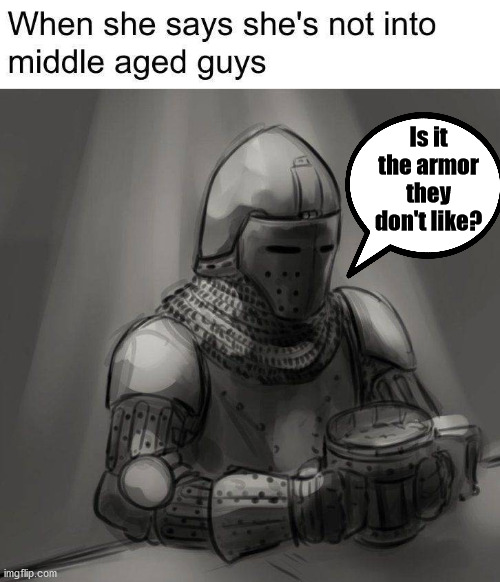 Could also be the horses, it is difficult to make out on a horse. |  Is it the armor they don't like? | image tagged in middle age,dating | made w/ Imgflip meme maker