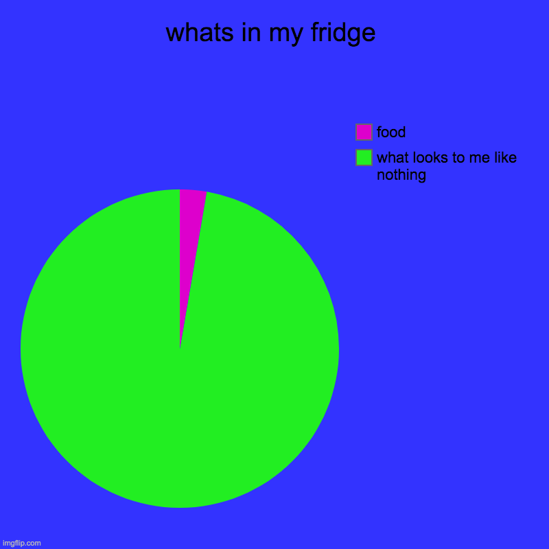 this is so true XD | whats in my fridge | what looks to me like nothing, food | image tagged in charts,pie charts | made w/ Imgflip chart maker