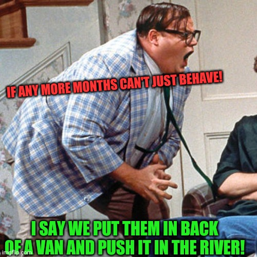 Chris Farley For the love of god |  IF ANY MORE MONTHS CAN'T JUST BEHAVE! I SAY WE PUT THEM IN BACK OF A VAN AND PUSH IT IN THE RIVER! | image tagged in chris farley for the love of god,2020,coronavirus,murder hornet,riots | made w/ Imgflip meme maker