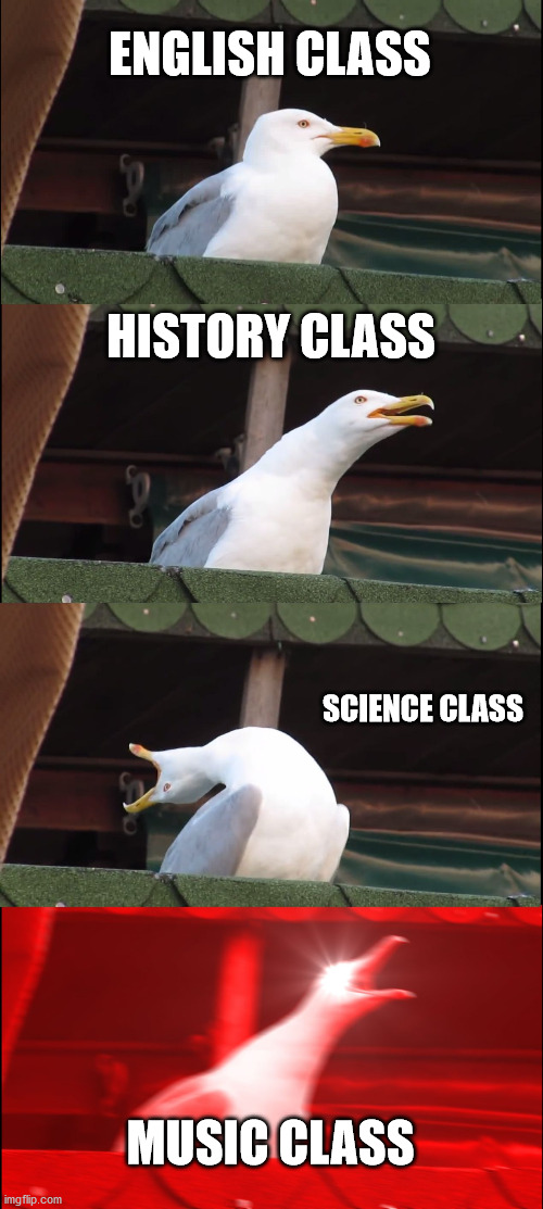 Classes |  ENGLISH CLASS; HISTORY CLASS; SCIENCE CLASS; MUSIC CLASS | image tagged in memes,inhaling seagull | made w/ Imgflip meme maker
