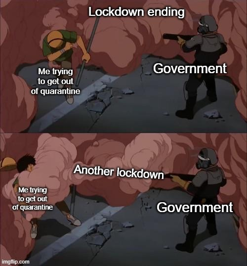 Lockdown got me like |  Lockdown ending; Government; Me trying to get out of quarantine; Another lockdown; Me trying to get out of quarantine; Government | image tagged in quarantine,lockdown,government | made w/ Imgflip meme maker