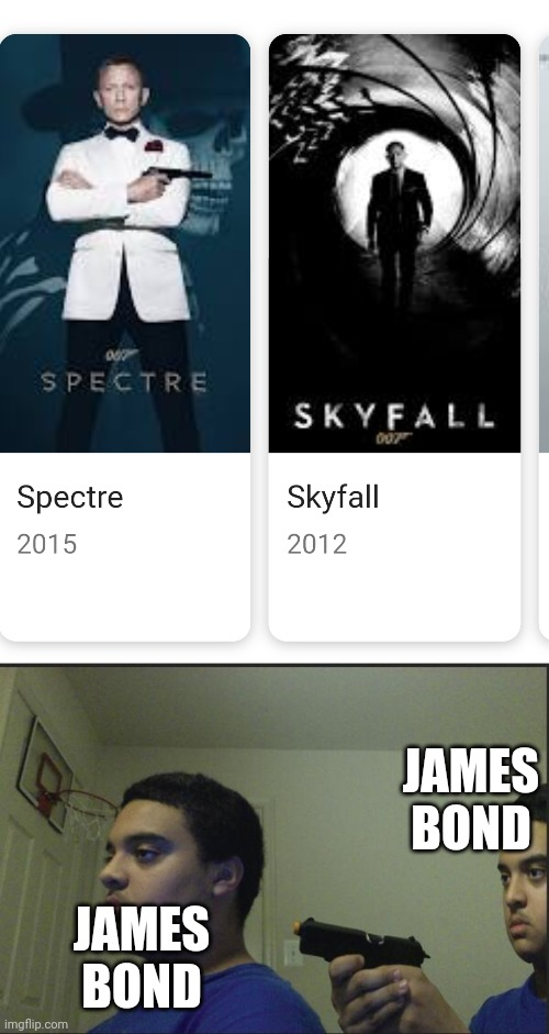 Only true memers may understand this. |  JAMES BOND; JAMES BOND | image tagged in trust nobody not even yourself | made w/ Imgflip meme maker