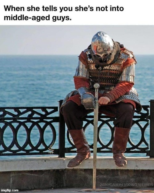 It's gonna be another lonely knight. | image tagged in repost,lonely,middle age,relationships,dating,funny | made w/ Imgflip meme maker