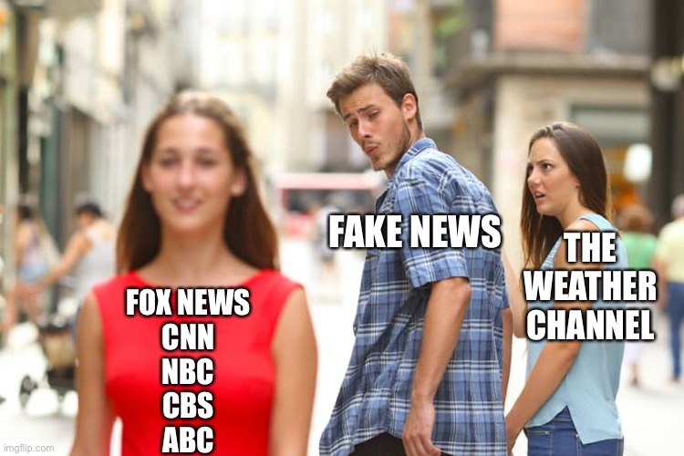 The Original Fake News |  FAKE NEWS; THE WEATHER CHANNEL; FOX NEWS CNN NBC CBS ABC | image tagged in memes,distracted boyfriend,fake news,cnn,fox news,msm | made w/ Imgflip meme maker