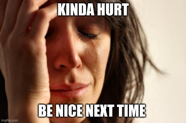 KINDA HURT BE NICE NEXT TIME | image tagged in memes,first world problems | made w/ Imgflip meme maker