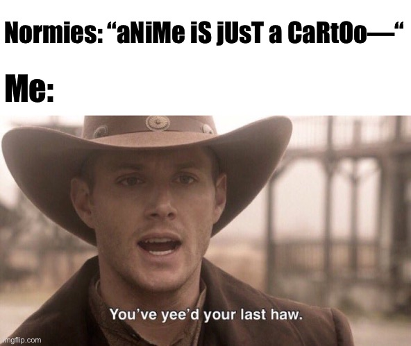 "You've yee'd your last haw | Normies: ""aNiMe iS jUsT a CaRtOo—"" Me: 