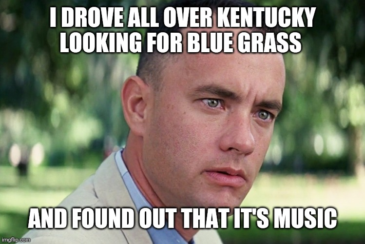 And Just Like That Meme |  I DROVE ALL OVER KENTUCKY LOOKING FOR BLUE GRASS; AND FOUND OUT THAT IT'S MUSIC | image tagged in memes,and just like that | made w/ Imgflip meme maker