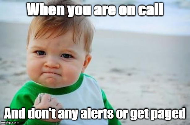 Succes Kid On call |  When you are on call; And don't any alerts or get paged | image tagged in fist pump baby | made w/ Imgflip meme maker