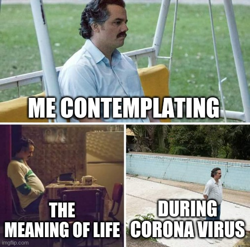 Sad Pablo Escobar Meme |  ME CONTEMPLATING; THE MEANING OF LIFE; DURING CORONA VIRUS | image tagged in memes,sad pablo escobar | made w/ Imgflip meme maker