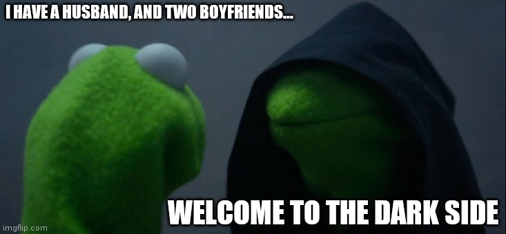 Evil Kermit |  I HAVE A HUSBAND, AND TWO BOYFRIENDS... WELCOME TO THE DARK SIDE | image tagged in memes,evil kermit | made w/ Imgflip meme maker