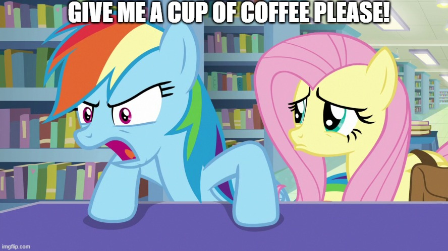 Rainbow Dash |  GIVE ME A CUP OF COFFEE PLEASE! | image tagged in mlp fim | made w/ Imgflip meme maker