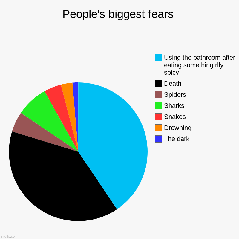 Im scared to use the bathroom rn not gonna lie... | People's biggest fears | The dark, Drowning, Snakes, Sharks, Spiders, Death, Using the bathroom after eating something rlly spicy | image tagged in charts,pie charts | made w/ Imgflip chart maker