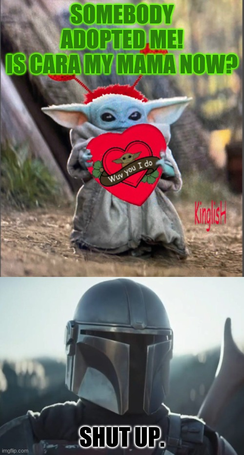 SOMEBODY ADOPTED ME! IS CARA MY MAMA NOW? SHUT UP. | image tagged in mando,valentine baby yoda | made w/ Imgflip meme maker