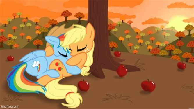 Ugh...so cute! | image tagged in mlp,so cute,applejack,rainbow dash | made w/ Imgflip meme maker