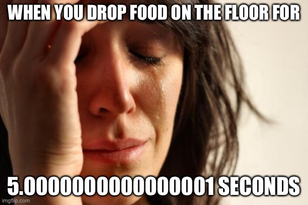 First World Problems Meme |  WHEN YOU DROP FOOD ON THE FLOOR FOR; 5.0000000000000001 SECONDS | image tagged in memes,first world problems | made w/ Imgflip meme maker