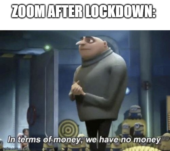NO MONYE |  ZOOM AFTER LOCKDOWN: | image tagged in in terms of money we have no money | made w/ Imgflip meme maker