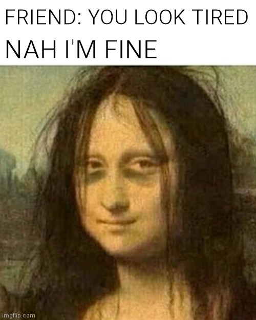 I don't care if I get upvotes |  FRIEND: YOU LOOK TIRED; NAH I'M FINE | image tagged in tired mona lisa,funny i guess | made w/ Imgflip meme maker