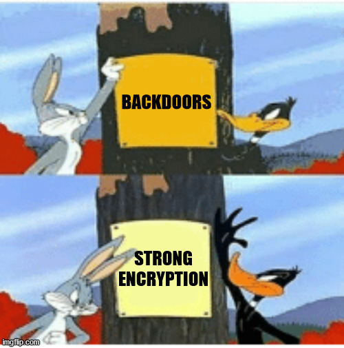 BACKDOORS; STRONG ENCRYPTION | image tagged in blank season | made w/ Imgflip meme maker